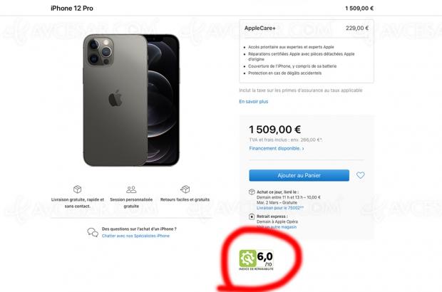 Quels sont les indices de réparabilité des iPhone ?
