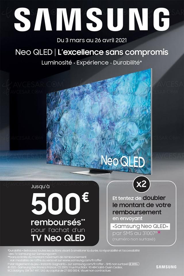 Offre de remboursement 500 € TV Samsung Neo QLED, et tentez de doubler son montant