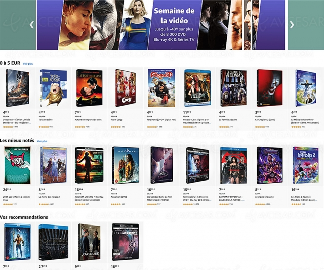 Semaine de la vidéo Amazon, 8 000 4K Ultra HD, Blu‑Ray, DVD jusqu'à ‑59% de remise