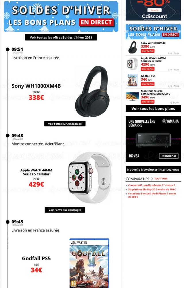 Bons plans, les meilleures offres sélectionnées par AVCesar.com : TV Oled, TV LED, smartphones…