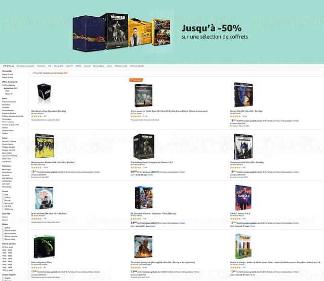 Amazon, prix cassés sur 620 coffrets 4K Ultra HD, Blu‑Ray, DVD (jusqu'à ‑50%)