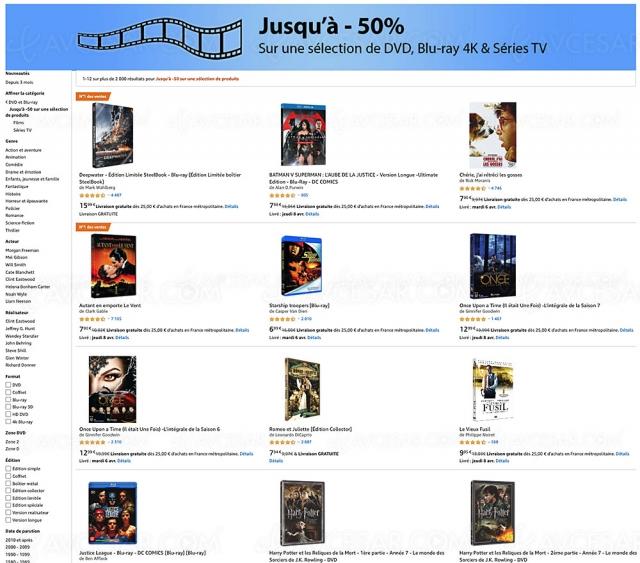 Amazon, prix en baisse sur 2 000 4K Ultra HD, Blu‑Ray, DVD (jusqu'à ‑59%)