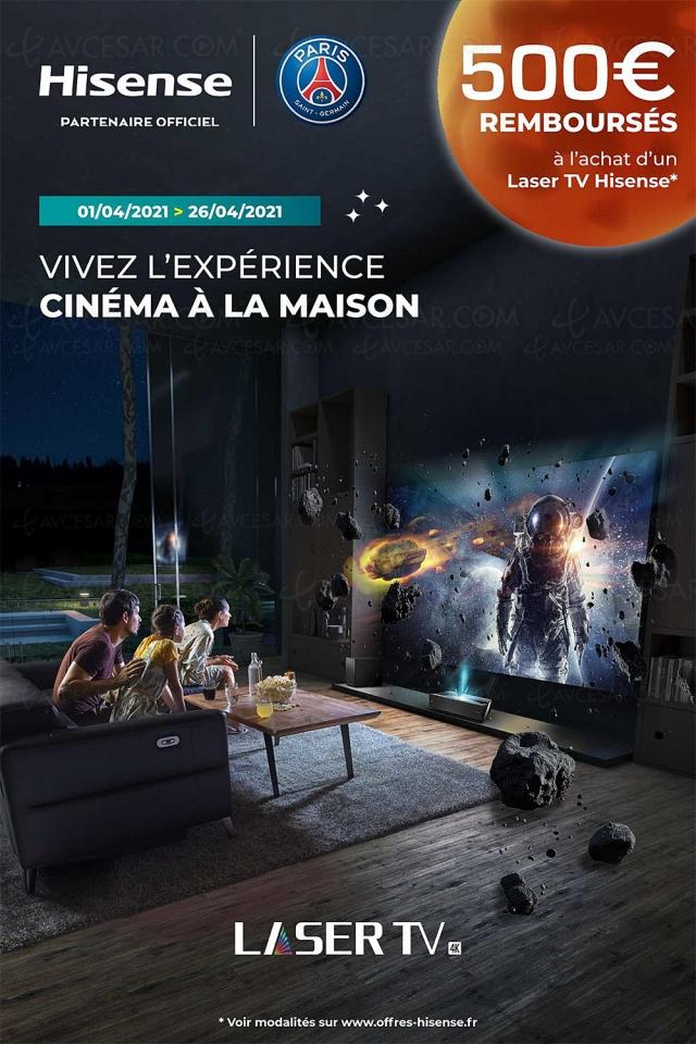 Offre de remboursement Hisense Laser TV 88''/100'', 500 € remboursés
