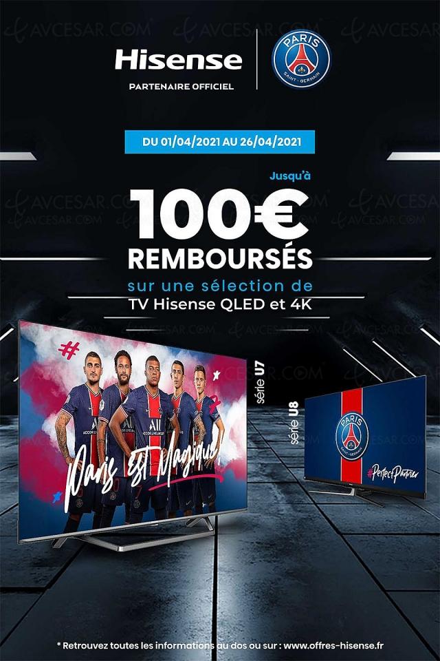 Offre de remboursement TV Ultra HD 4K Hisense, jusqu'à 100 € remboursés