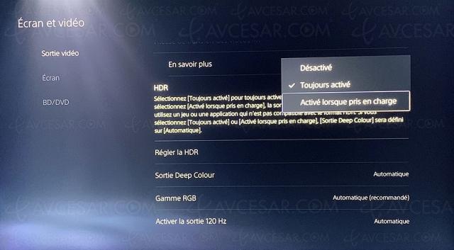 PlayStation 5, problème 4K/120 HDR TV Samsung et gestion jeu SDR/HDR réglés