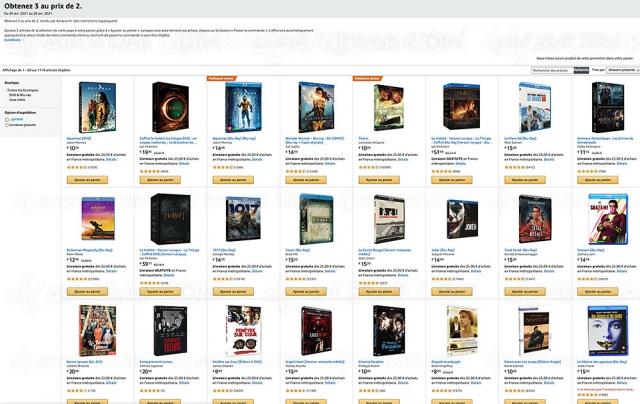 Amazon, deux 4K Ultra HD, Blu‑Ray, DVD achetés, un 3e offert parmi 1 118 titres