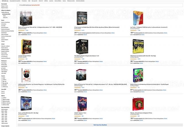 Amazon, prix cassés sur 620 coffrets 4K Ultra HD, Blu‑Ray et DVD