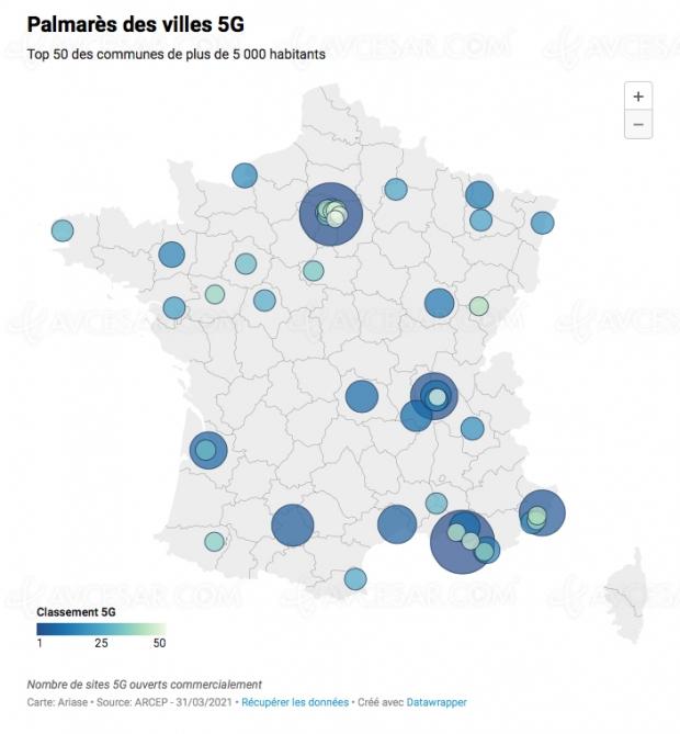Classement des villes françaises les mieux couvertes par la 5G