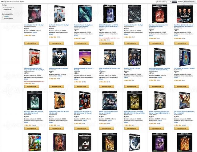Amazon : deux 4K Ultra HD achetés, un 3e offert parmi 57 titres