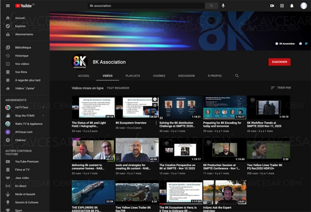 Chaîne YouTube 8K Association