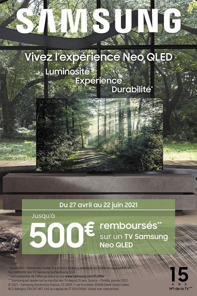 Offre de remboursement TV Samsung Neo QLED, jusqu'à 500 € remboursés