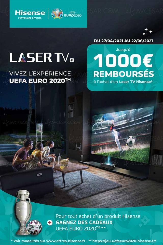 Offre de remboursement Hisense Laser TV 88''/100''/120'', jusqu'à 1 000 € remboursés