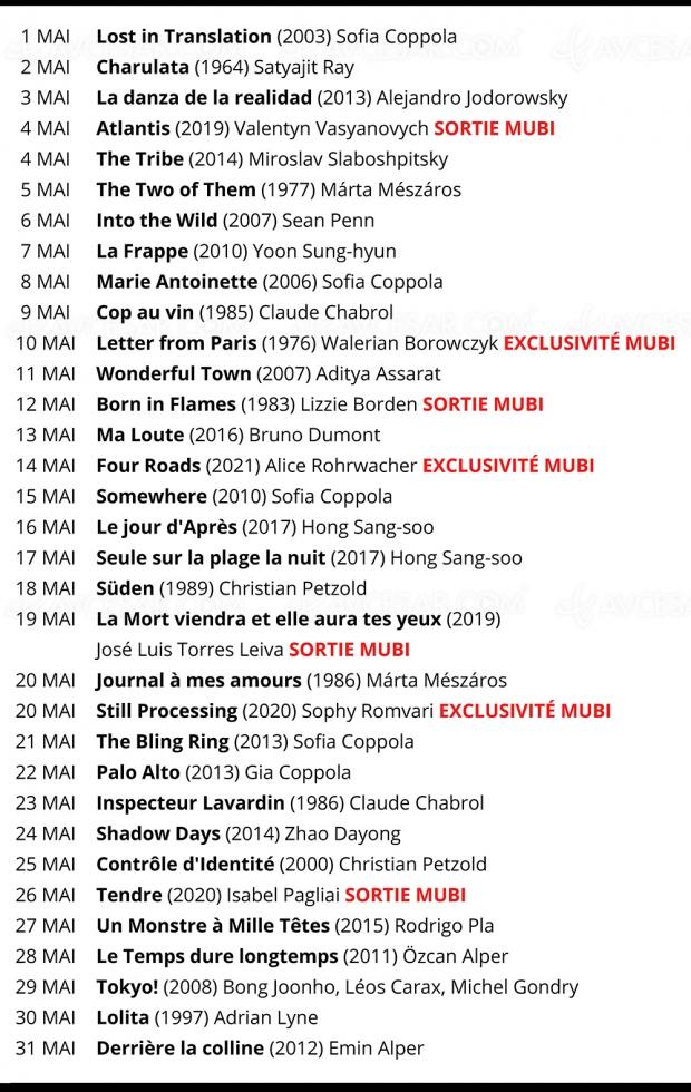 Programme Mubi : Sofia Coppola en mai, Shiva Baby en juin