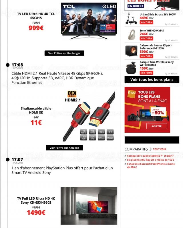 Bons plans/sélection promos AVCesar.com 16 mai : TV Oled, TV LED, smartphones…