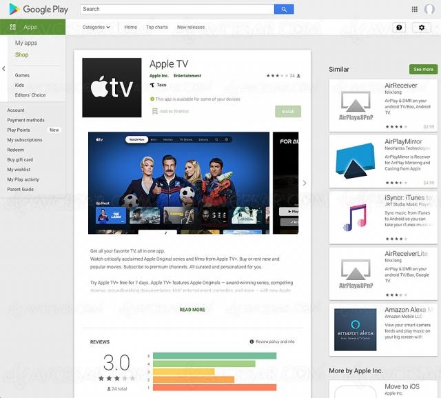 Application Apple TV disponible sur Android TV