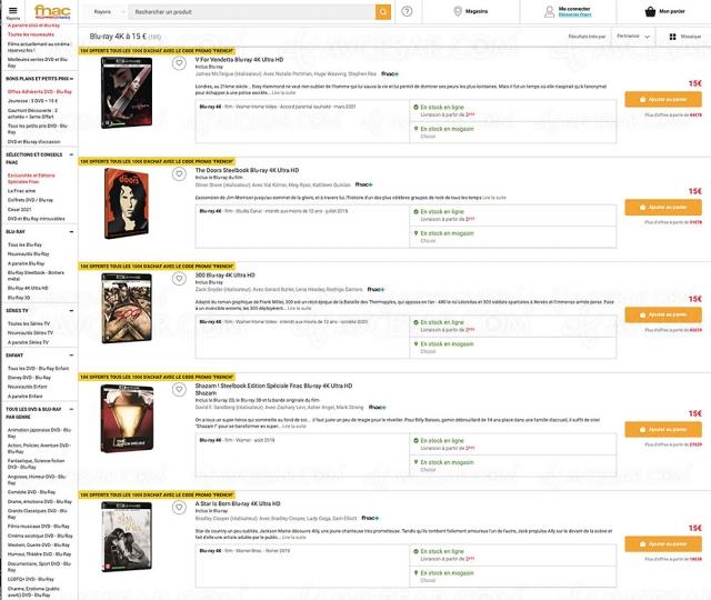 Bon plan Fnac, 114 coffrets 4K Ultra HD Blu‑Ray à 10 € ou 15 € seulement