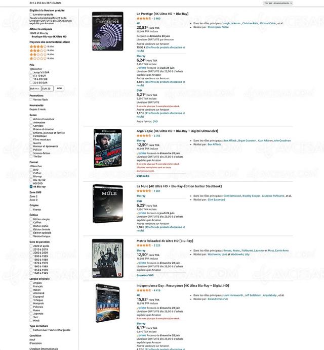 Bons plans Amazon, 386 coffrets 4K Ultra HD Blu‑Ray à moins de 20 €