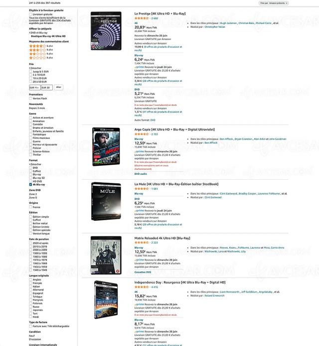 Bons plans Amazon, 398 coffrets 4K Ultra HD Blu‑Ray à moins de 20 €