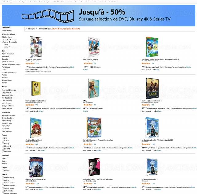 Amazon, 2 000 4K Ultra HD, Blu‑Ray et DVD jusqu'à ‑50%