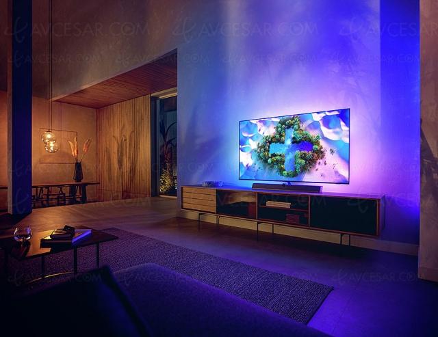 TV Oled Philips OLED936, nouveau P5 Dual Engine, Ambilight 4 côtés, Android TV 10 et barre de son B&W 3.1.2
