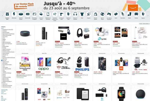 Amazon, ventes flash de rentrée et promotions jusqu'à ‑78% jusqu'au 6 septembre