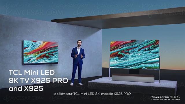 TV 8K TCL 85X925 Pro : Mini LED OD Zero, QLED, 1 920 zones, 1 500 nits, 96 000 LED