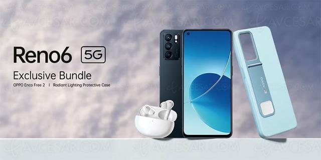 Smartphone Oppo Reno6 5G : écouteurs True Wireless Enco Free 2 et coque de protection offerts