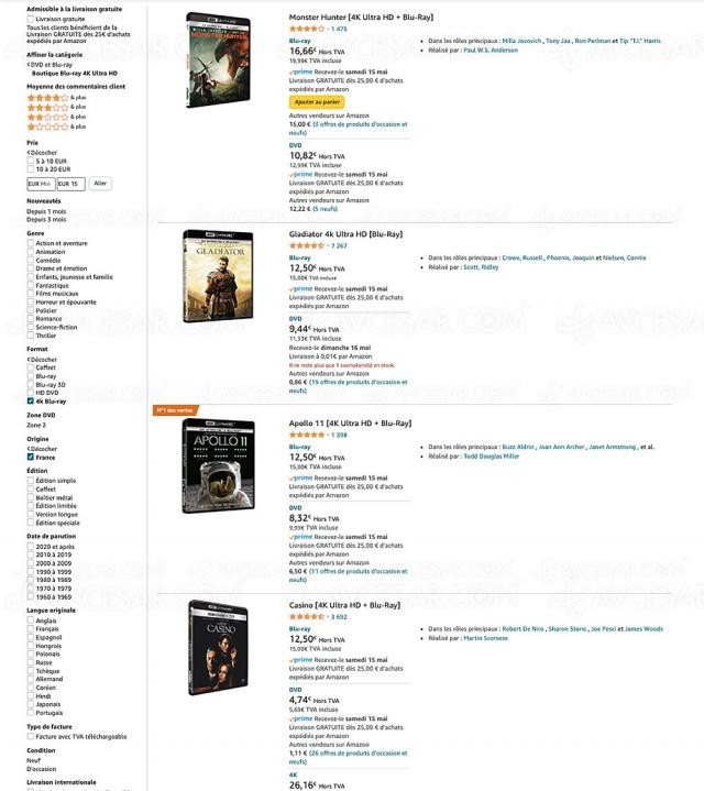 Amazon, 444 coffrets 4K Ultra HD Blu‑Ray à moins de 20 €
