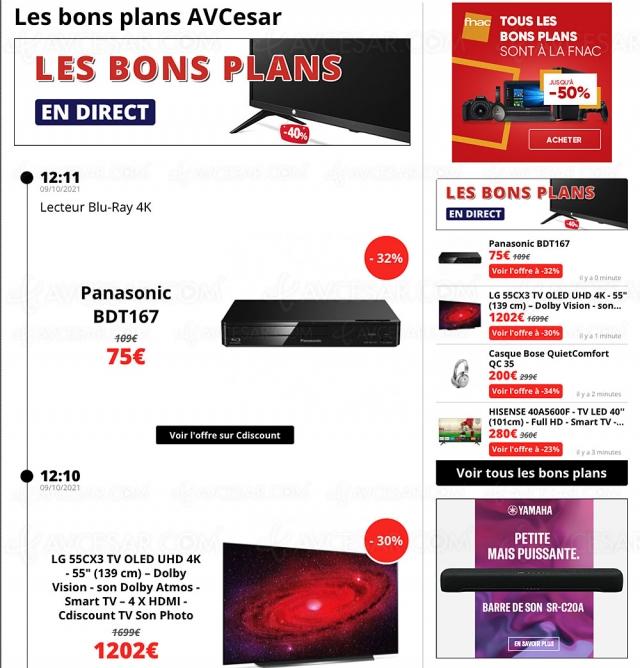 Bons plans/soldes, sélection promos AVCesar.com : TV Oled, TV LED, smartphones…