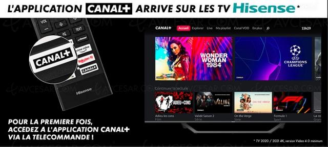 Canal+ disponible sur les TV Hisense via un bouton dédié sur la télécommande