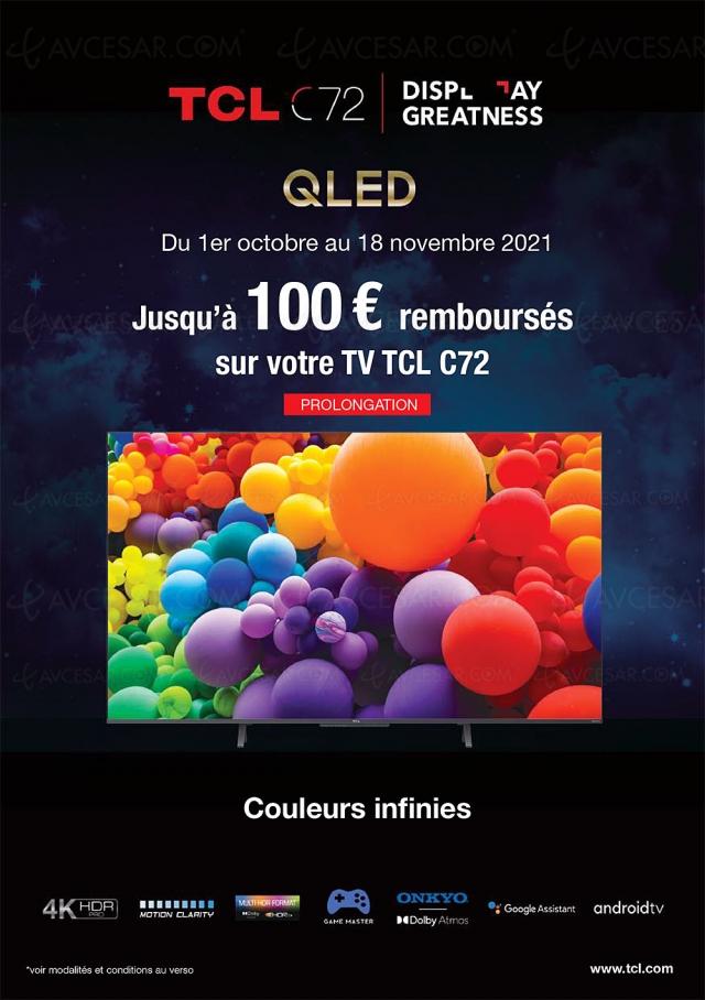 Offre de remboursement TV Ultra HD 4K TCL C72, jusqu'à 100 € remboursés