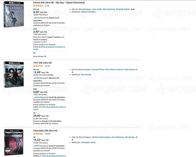 Bon plan Amazon, 247 coffrets 4K Ultra HD Blu‑Ray à 15 € prix maximum
