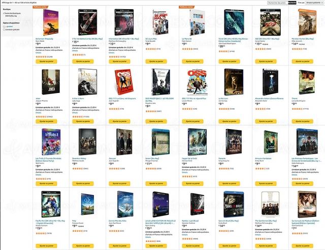 Promotion Amazon, deux 4K Ultra HD, Blu‑Ray, DVD achetés, un 3e offert parmi 682 titres