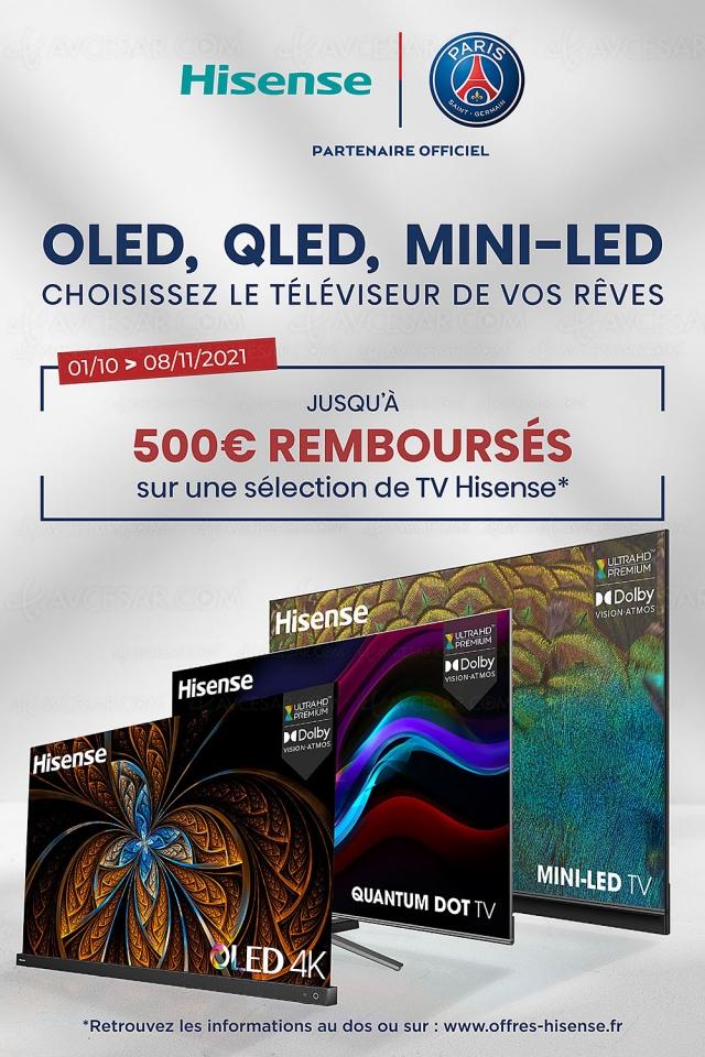 Offre de remboursement TV Ultra HD 4K Hisense, jusqu'à 500 € remboursés