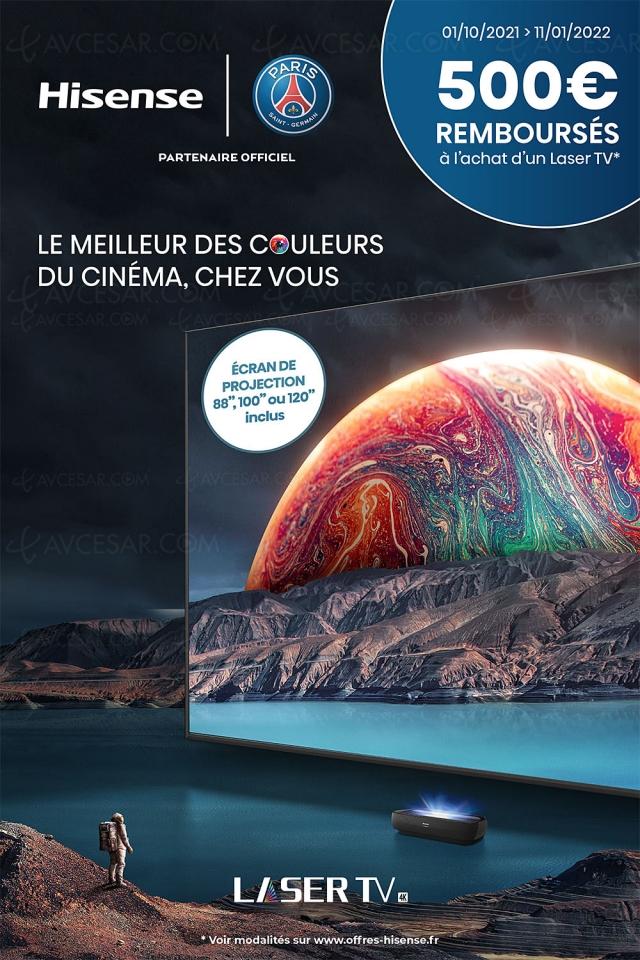 Offre de remboursement Hisense Laser TV 88''/100''/120'', jusqu'à 500 € remboursés